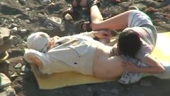 Russian couple caught doing sex at the beach filmed voyeur