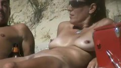 Nudist family at the beach filmed voyeur