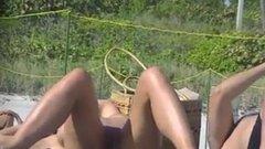 Stunning nude topless woman at the beach filmed voyeur