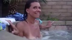 Horny woman caught getting pleasure in the jacuzzi outdoor
