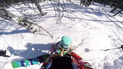 Public sex with hot girlfriend in snowy forest at a ski resort