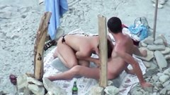 Couple spied on camera at the beach she does a great blowjob