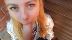 Hidden outdoor sex a blonde gives a blowjob