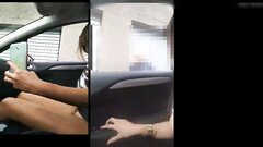 Breathtaking woman flashing nude in the car to passer-by dude