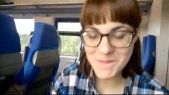 Hidden outdoor oral sex in a public train