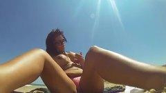 Nude girl secretly masturbating outdoor